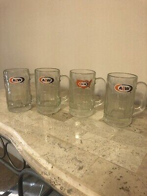 "AW A & W ROOT BEER Vintage GLASS MUG 6"" tall Set Of 4 - 1 American & 3 A&W"