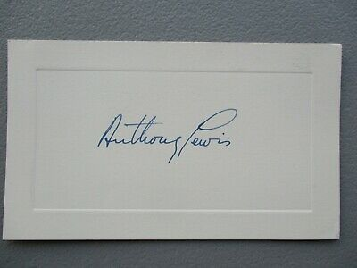 Anthony Lewis (Created Legal Journalism,Pulitzer Prize ) signed card,COA seal