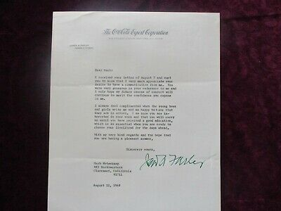 1969 James A. Farley (Chairman of Coca-Cola heartfelt content),signed letter!