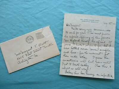1942 George Stafford Torrey (Wife of Botanist signed) Storrs,Conn.,letter,cover!