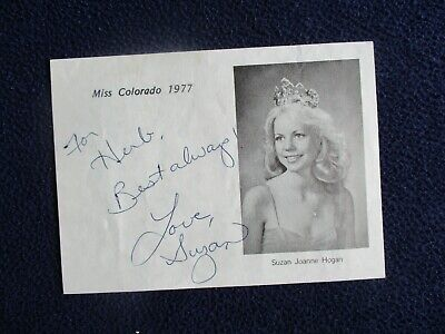 "1977 Suzan Joanne Hogan Miss Colorado ""Miss America"" signed Picture Letter"