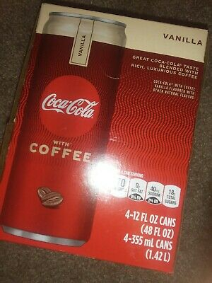 Coca Cola With Coffee - Four (4) 12 oz cans. Unreleased. Vanilla Flavored.