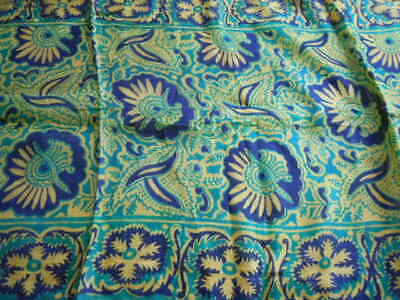 """vintage silk scarf, beautiful green pattern, hand finished sewn edges, 40 x 13"""""""