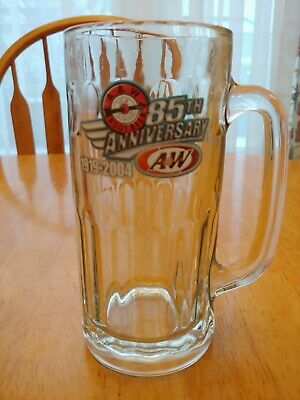 "Original A & W 85th Anniversary ROOT BEER Vintage GLASS MUG 7"" Tall RARE Vintage"