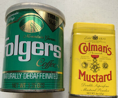Tin Containers Folgers Coffee Trial Size, Coleman's Mustard