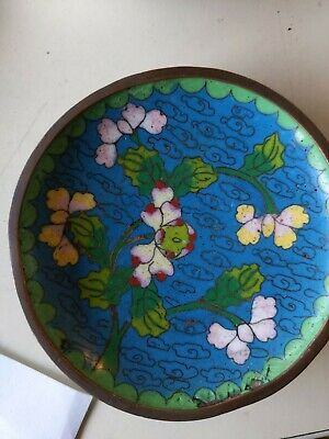 "Chinese antique cloisonne 3&3/4""Plates. 3 off with flowers on blue background."