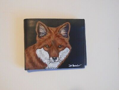 Red Fox Hand Painted Black Leather Wallet Accessory for Men