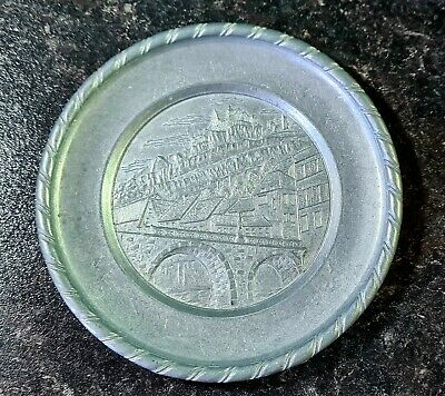 Antique, German, Pewter Plate.