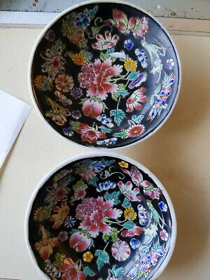"Chinese vintage Plates. 3&3/4"" Ceramic , flowers on Black. A pair."