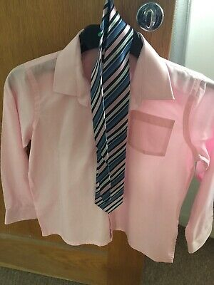 Boys Pink Shirt And Tie Aged 10-11 Years - Special Occasion / Christmas/ prom