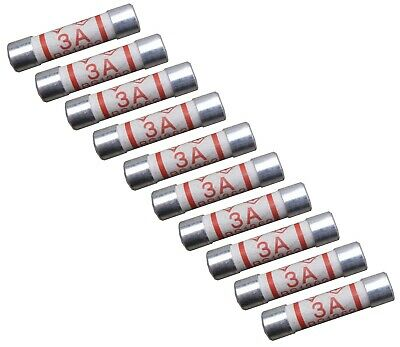 Household Domestic 3A Fuses Mains Electrical Cartridge Plug Ceramic - 10 Pack