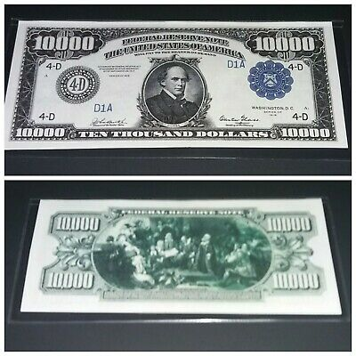 Reproduction $10,000 1918 Federal Reserve Note US Paper Money Currency Copy