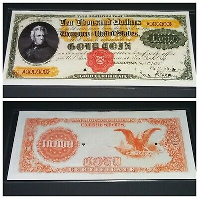 Reproduction $10,000 1882 Gold Certificate Note US Paper Money Currency Copy
