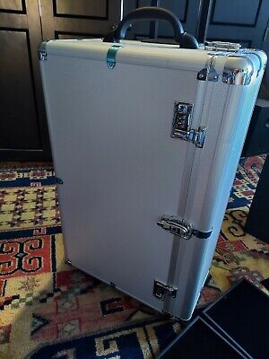 Locking, Rolling Jewelry Display Suitcase W/ 24 Tray Capacity