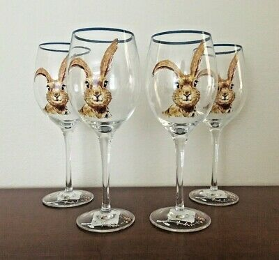 Pier 1 Imports Bunny Pals Easter Spring Rabbits Stemless Wine Glass Set of 4