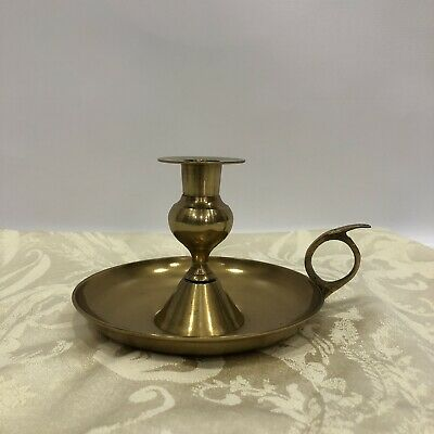 Vintage Solid Brass Candle Holder with Drip Plate Handle /& Snuffer