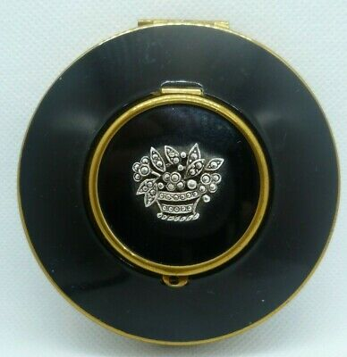 Black Enamel with Marcasite from 1950s Vintage Mimosa Powder Compact by Kigu