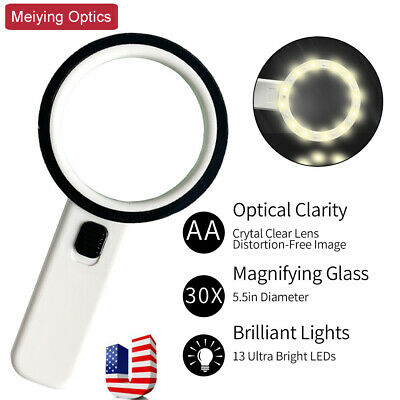 5.5inch Extra Large Handheld LED Magnifier 1.8X 5X Magnifying Glass Loop Loupe