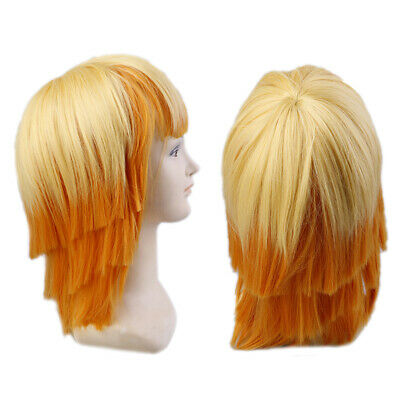 Anime Cartoon Characters Agatsuma Zenitsu Yellow Orange Long Curly Wig CosFRFR