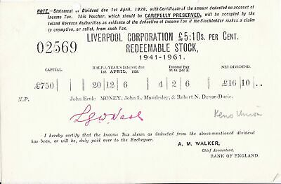 Liverpool Corporation Redeemable Stock April 1928 Dividend Statement Ref 46050