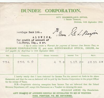 City Chamberlains Office,DUNDEE CORPORATION REDEEMABLE STOCK 1940 Receipt  48762