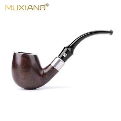MUXIANG Straight Stem Tobacco Pipe Ebony Wooden Smoking Pipe with 10 Accessories