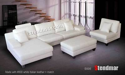4 Pc Modern European Design Genuine Leather Sectional Sofa Set S505
