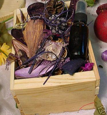 Fields of lavender potpourri in crate with 1 oz oil