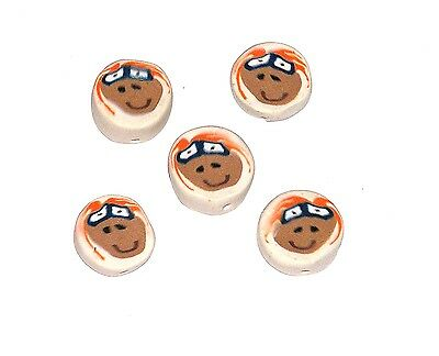 /FIMO POLYMER CLAY BEADS Face Lot of 5 HAPPY FACES