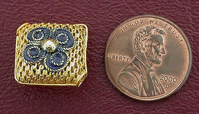 One 15Mm Gold Square Puff Pillow Cloisonne Bead