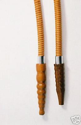 Leather hose for hookah or shisha with a wooden tip