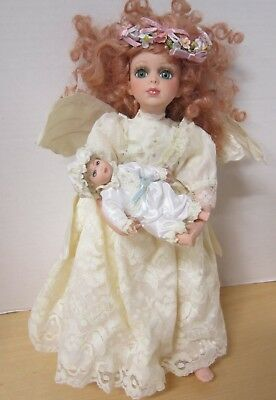 """13"""" bisque Seymour Mann angel with baby - new condition"""