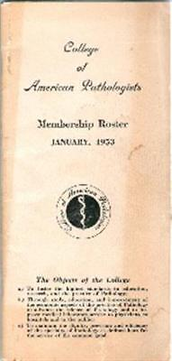 1953 College of American Pathologists Membership Roster