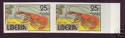 Liberia Sc 949 MNG, 25c imperf proof pair, choice VF