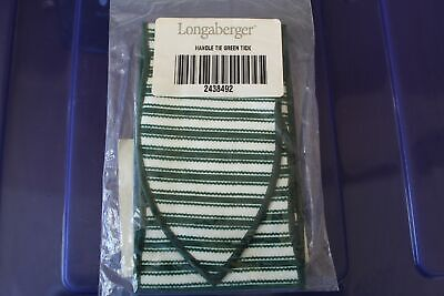 Longaberger Green Ticking Large Handle Tie - NEW