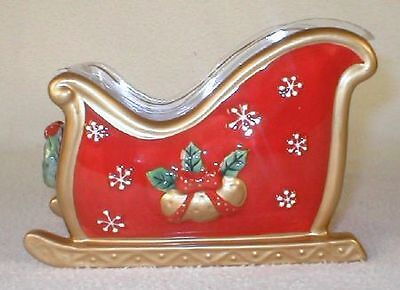 FITZ & AND FLOYD FESTIVE BELLS CHRISTMAS SLEIGH PLANTER