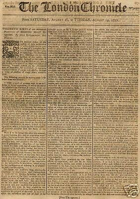 London Chronicle-Revolutionary War Content-1777 Issue