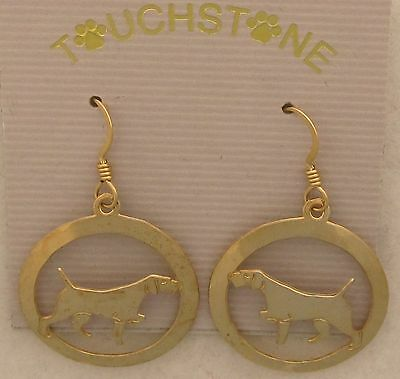 German Wirehaired Pointer Jewelry Gold Dangle Earrings
