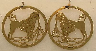 Portuguese Water Dog Lion Clip Gold Post Earrings