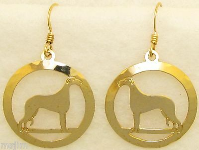 Scottish Deerhound Jewelry Gold Dangle Earrings