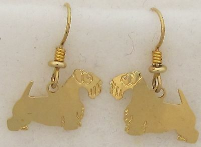 Sealyham Terrier Jewelry Gold Dangle Earrings