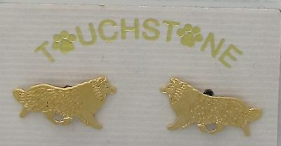 Shetland Sheepdog Jewelry Sheltie Gold Post Earrings