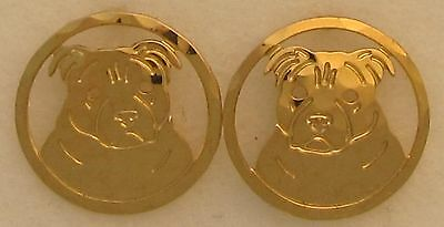 Staffordshire Bull Terrier Jewelry Gold Post Earrings