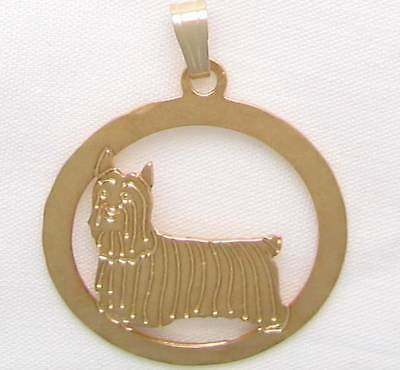 Silky Terrier Jewelry Gold Pendant by Touchstone