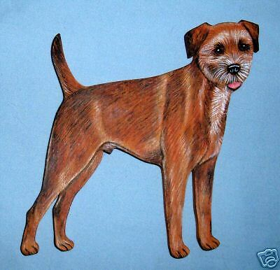 "Border Terrier Handpainted on Wood, Size 5"" x 5"""