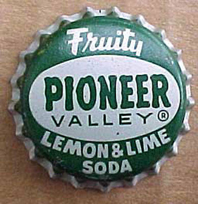PIONEER VALLEY LEMON LIME SODA, Cork-lined CROWN, Bottle CAP, MASSACHUSETTS