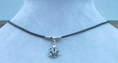 Frog Charm Necklace & Earrings Set Amphibian Waxed Cord Fish Hook Approx 17""