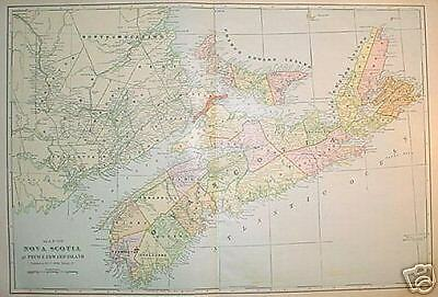 1902 Nova Scotia, Canada Large  2- page Color Map**