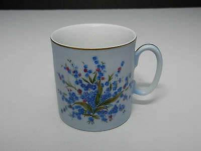 "Lefton Blue Floral Mug #674 Hand Painted Gold Trim 3 1/8"" T"