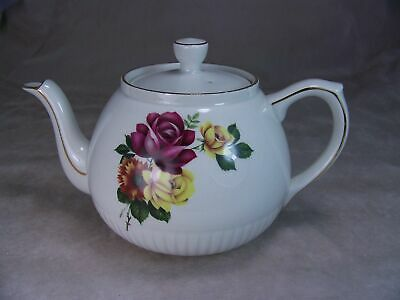 Vintage Ellgreave England Ironstone Teapot Yellow Red Roses Gold Trim Ribbed
